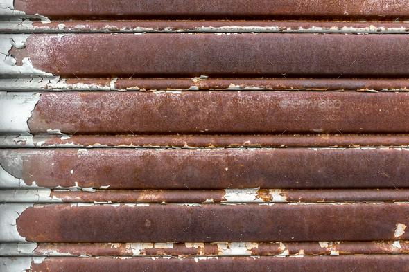 Old rusty garage door - Stock Photo - Images