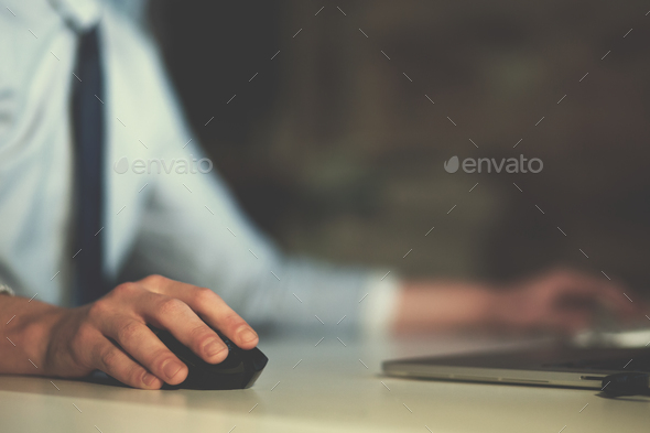Hand using computer mouse closeup - Stock Photo - Images