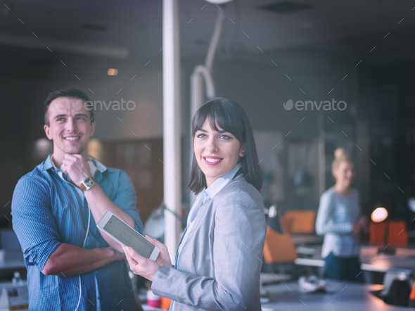 Business People Working With Tablet in office - Stock Photo - Images