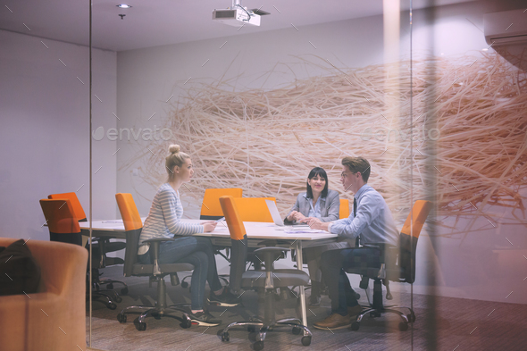 Business Team At A Meeting at modern office building - Stock Photo - Images