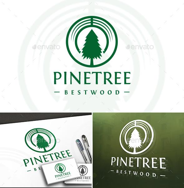 Pine Tree Wood Logo - Nature Logo Templates