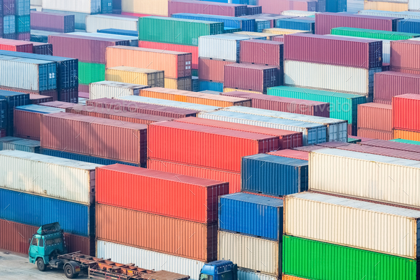 container freight station closeup - Stock Photo - Images