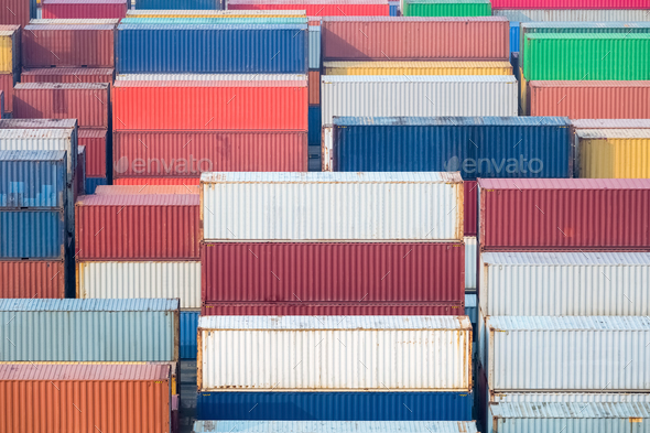 container yard in morning - Stock Photo - Images