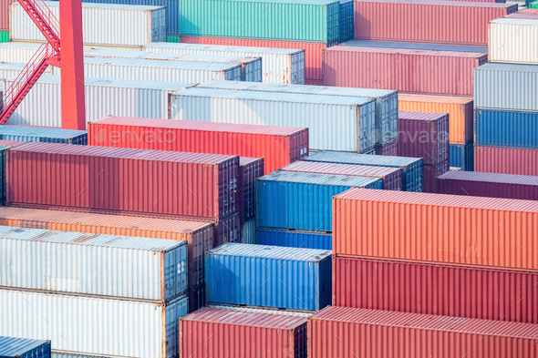 container closeup in terminal - Stock Photo - Images
