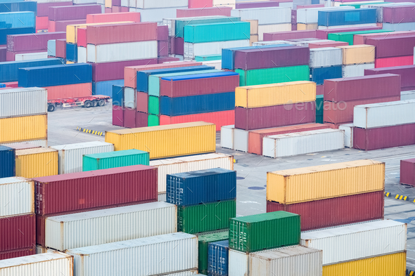 container yard, hub station of maritime transport and land transport in shanghai - Stock Photo - Images