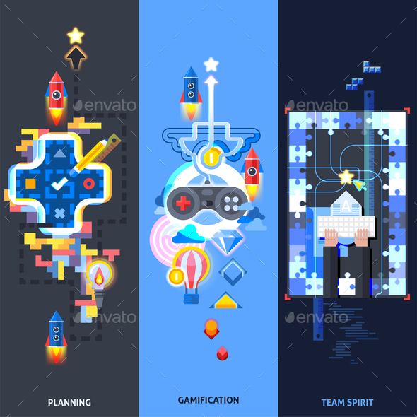 Gamification Elements Flat Banners Set - Business Conceptual