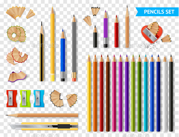 Multicolored Sharpened Pencils Transparent Set - Miscellaneous Vectors
