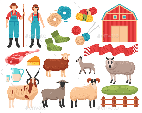 Sheep Breeding Farm Set - Animals Characters