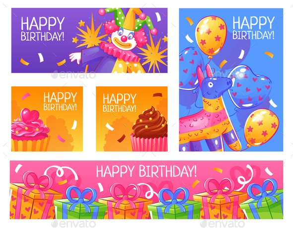 Birthday Party Cards Set - Backgrounds Decorative