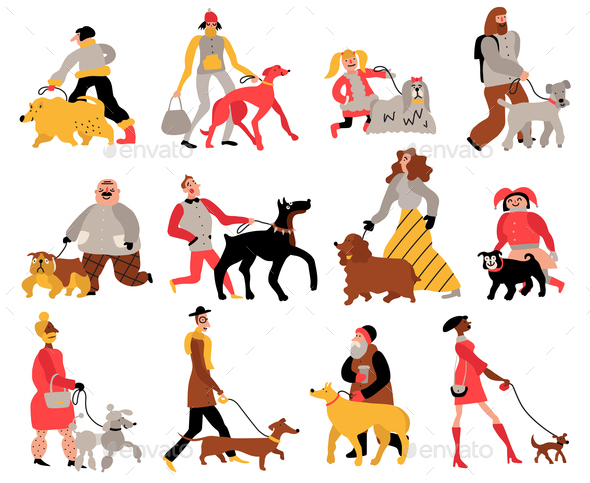 People With Dogs Set - People Characters
