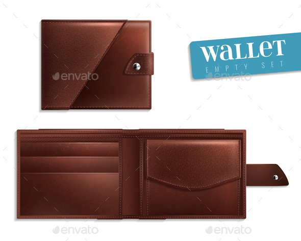 Realistic Opened Closed Empty Wallet Icon Set - People Characters