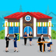 Colored Flat Business Lunch People Concept