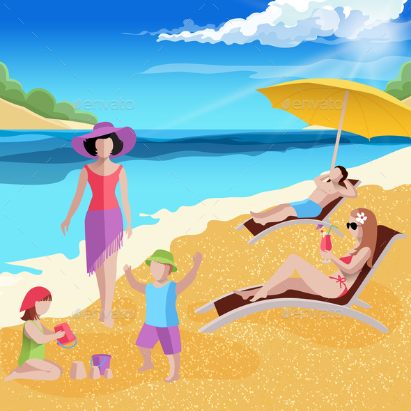 Coastal Paradise Beach Composition - People Characters