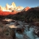 Mountain River and Mount Fitz Roy. Patagonia - VideoHive Item for Sale