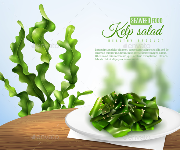 Realistic Sea Weed Salad Illustration - Food Objects