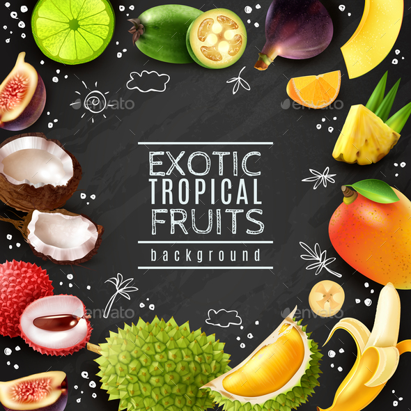 Tropical Fruits Chalk Board Background - Food Objects