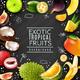 Tropical Fruits Chalk Board Background