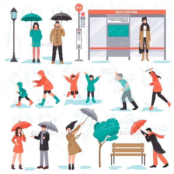 Bad Weather Set - People Characters