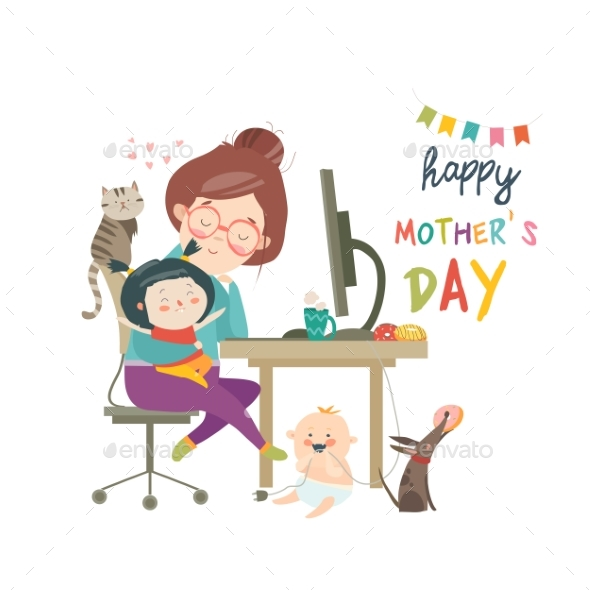 Working at Home Mother, Freelancer with Two Kids - Animals Characters