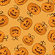 Vector Halloween Seamless Pattern with Pumpkins.