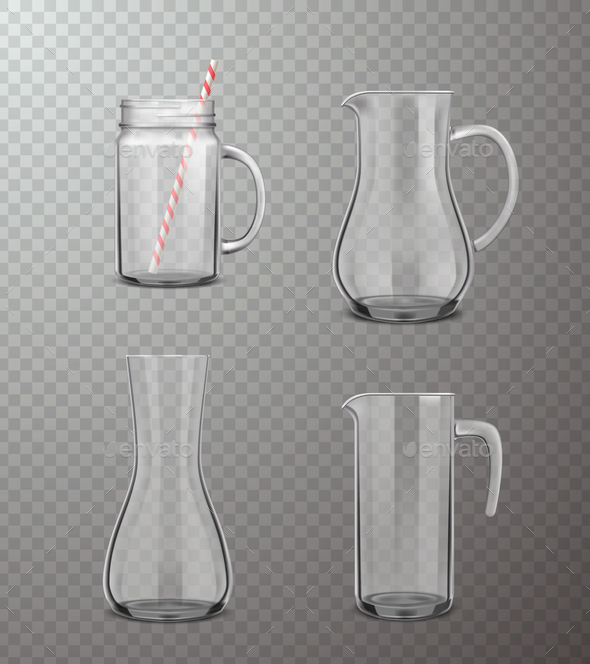 Glass Jugs Realistic Transparent Set - Miscellaneous Vectors