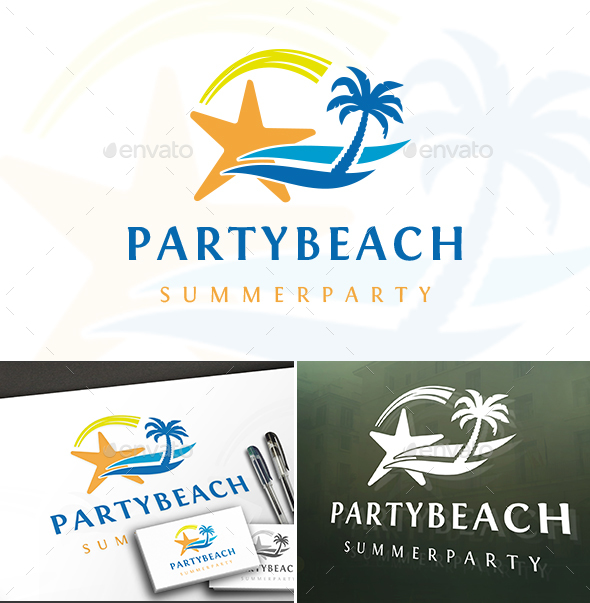 Star Beach Party Logo - Nature Logo Templates