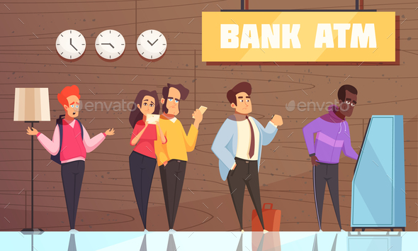 Bank ATM People Poster - People Characters