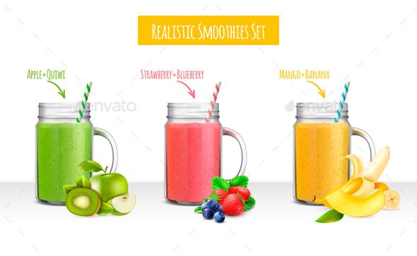 Smoothies Jars Realistic Set - Miscellaneous Vectors