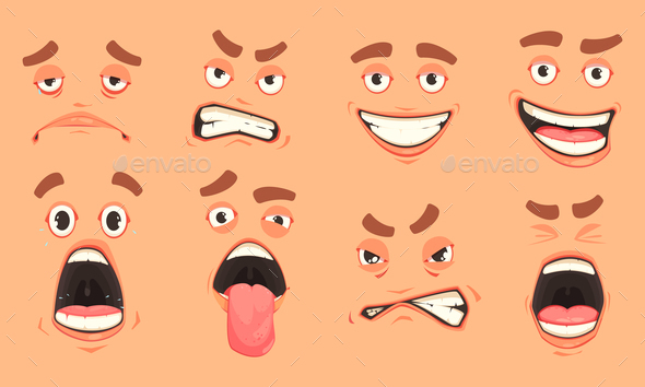Cartoon Men Mouth Set - People Characters