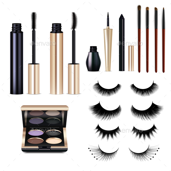 Realistic False Lashes Cosmetics Set - Miscellaneous Vectors