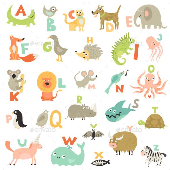 Children Alphabet Set - Animals Characters