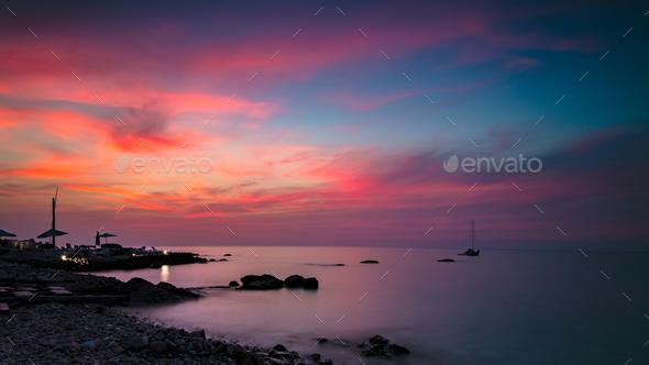 Beautiful pink sunset landscape - Stock Photo - Images