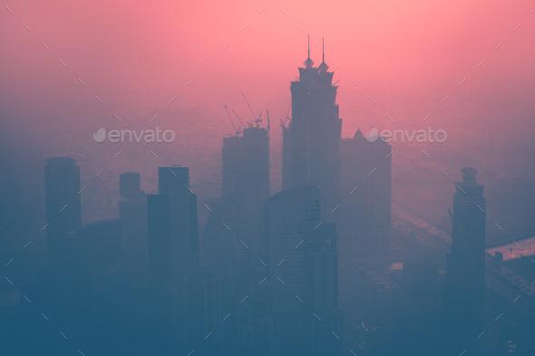 Dubai at dusk - Stock Photo - Images