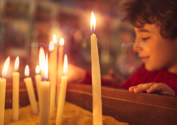 Little boy in the church on Easter - Stock Photo - Images
