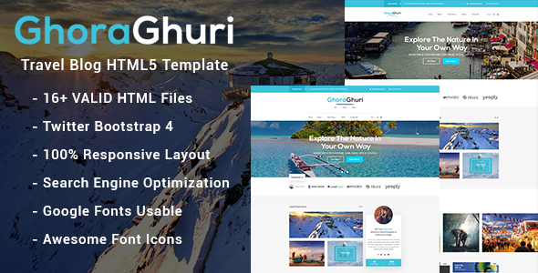 Image of Ghoraghuri Travel Blog HTML Template