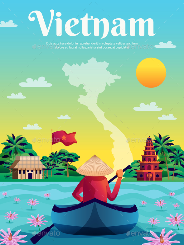 Vietnam Colored Poster - Miscellaneous Vectors