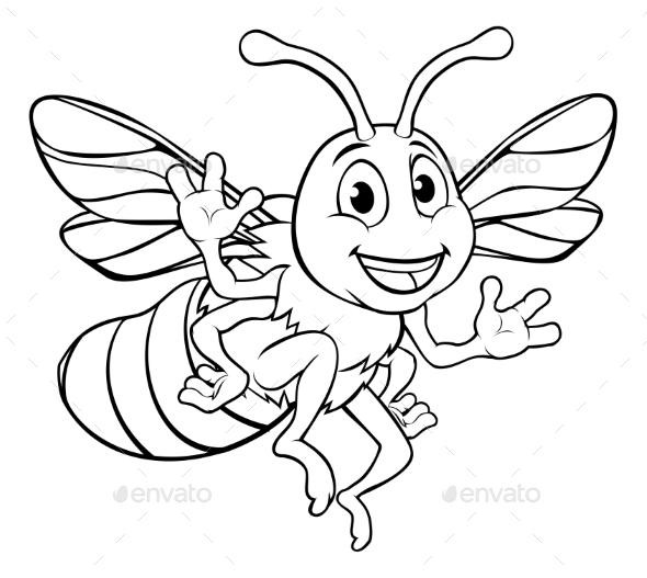 Bumble Honey Bee Cartoon Character - Animals Characters