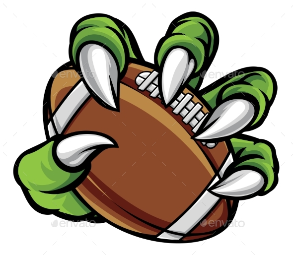 Monster Animal Claw Holding American Football Ball - Sports/Activity Conceptual