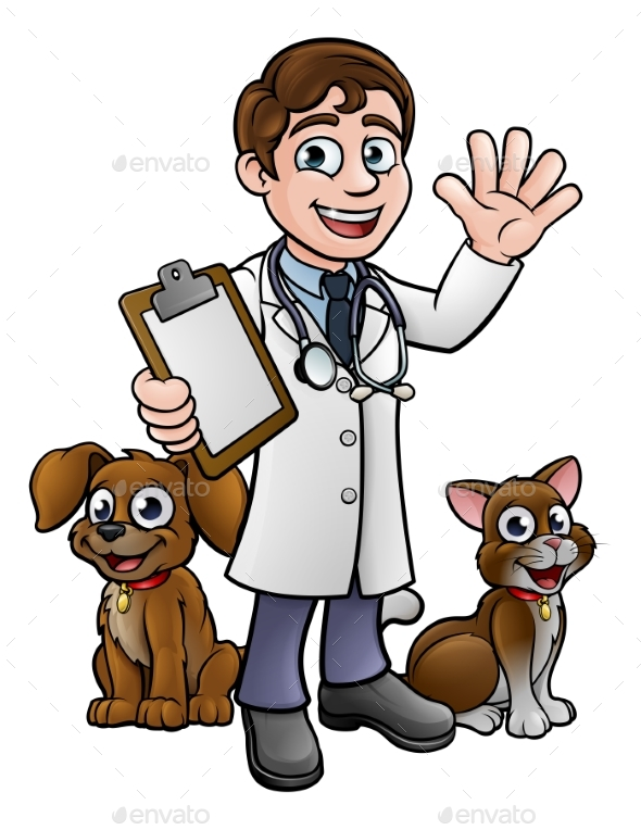 Cartoon Veterinarian Character with Cat and Dog - Animals Characters