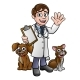 Cartoon Veterinarian Character with Cat and Dog - GraphicRiver Item for Sale