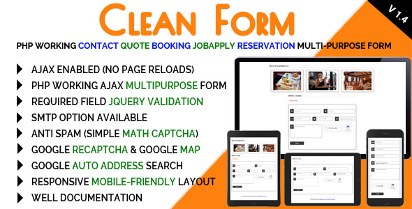 Clean Form - PHP Working Contact Quote Booking JobApply Reservation Multi-purpose Form - CodeCanyon Item for Sale