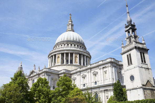 LONDON - MAY, 2017: St Pauls Cathedral against blue sky - Stock Photo - Images