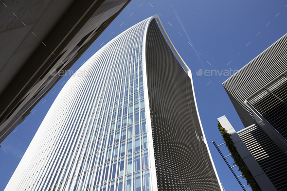 LONDON - MAY, 2017: Low angle view of The Walkie Talkie building - Stock Photo - Images