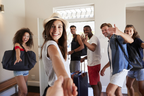 Point Of View Shot Of Friends Leaving Summer Vacation Rental - Stock Photo - Images