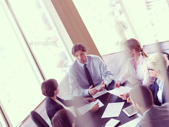 business people group on meeting at bright modern office - Stock Photo - Images