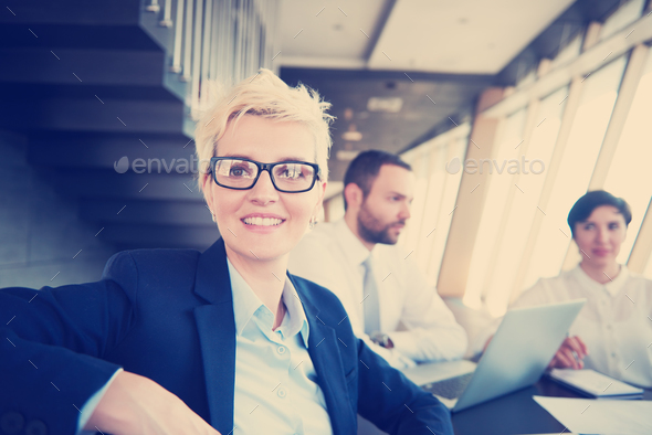 blonde business woman on meeting - Stock Photo - Images
