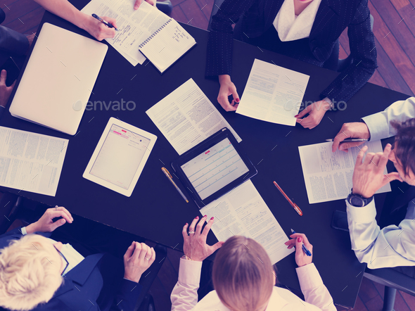 top view of business people group on meeting - Stock Photo - Images