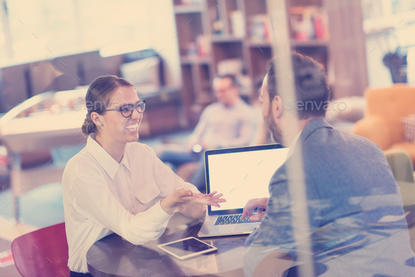Business team Working With laptop in creative office - Stock Photo - Images