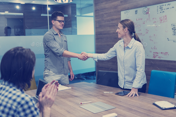 start up business people  handshake - Stock Photo - Images