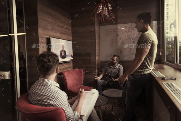 start up business people group attending videoconference call - Stock Photo - Images